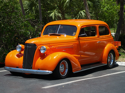 Orange 1937 37 Chev Chevy Chevrolet Sanibel car show