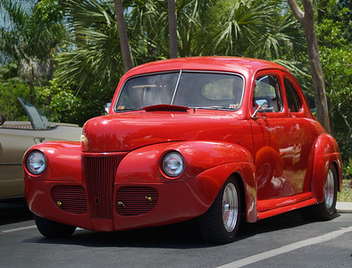 Red 1941 41 Ford Sanibel car show