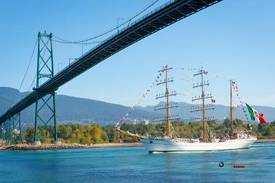 """Mexican Tall Ship """"Cuahtemoc"""" sailing below Lions Gate Bridge"""