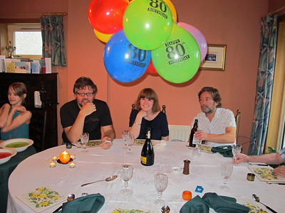 Derek's 80th and Joe's 8th birthday party, celebrated jointly.