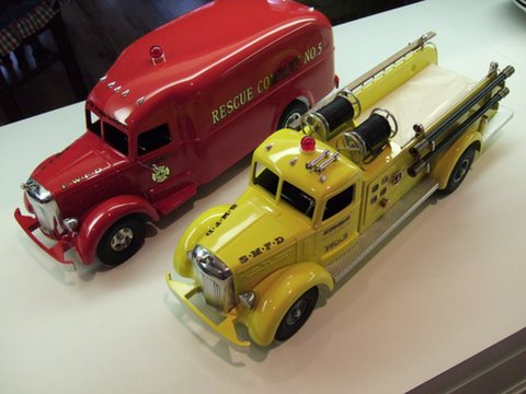 CustomSmith Miller Fire Trucks.  The Pumper Open Cab and Closed Cab models are available in red, white and yellow with your choice of decals.
