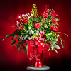 Red Rose Arrangement on Red Wall Art 1803.17