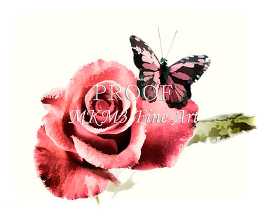 Butterfly Red Rose Image Painting 3184.02