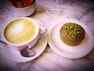 Latte with Pistachio Financier