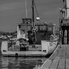 Lobster Boat at the Dock - Black and White