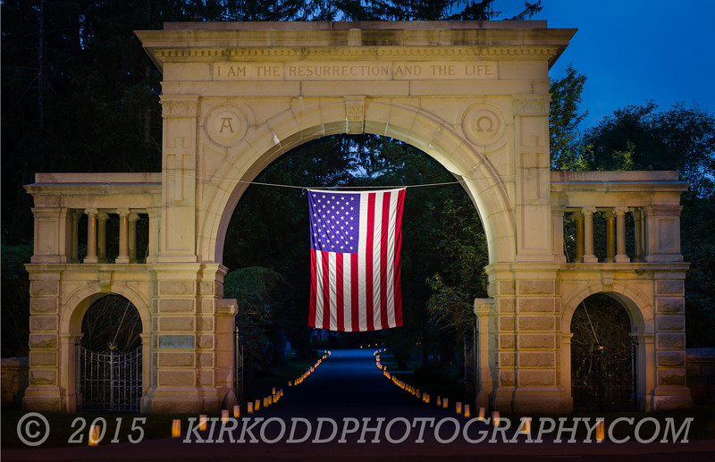 American Flag at Cemetery Gate - Mystic CT