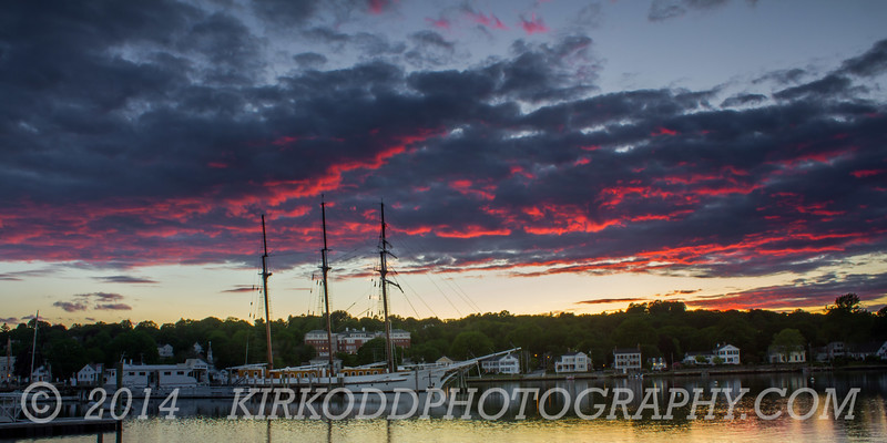 Mystic River Burning Sunset