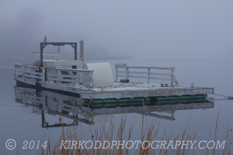 Foggy Barge Reflection