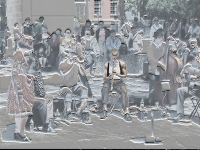 Jazz Band in 3D (sort of), Washington Square Park, Greenwich Village, New York City, 2007