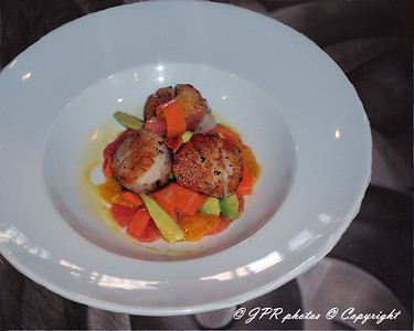 (10)Pan seared scallops. Salad of carrot ribbons, avocado, and orange and grapefruit supremes tossed in citrus gastrique.