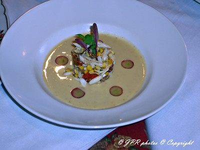 (4) Chilled roast almond and grilled corn potage.  Bound crab salad with roast grapes, cherry tomatoes, grilled corn, chives, and extra virgin olive oil. Garnish of frozen grapes.
