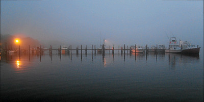 Foggy Pier, Fair Harbor, Fire Island Seashore, Fair Harbor, New York