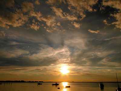 Sunset over The Great South Bay, View from Fair Harbor, Fire Island, NY