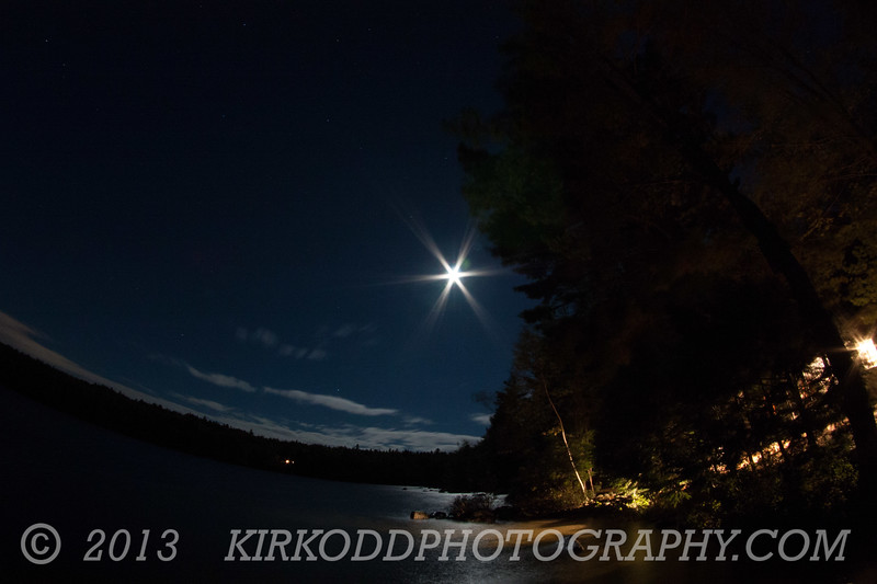 Branch Lake at Night in Ellsworth, Maine - Fisheye