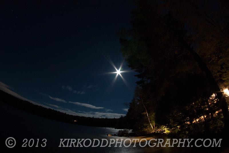 Branch Lake at Night in Ellsworth, Maine - Fisheye