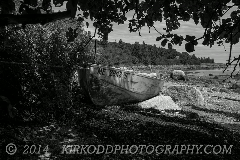 Beached Rowboat BW