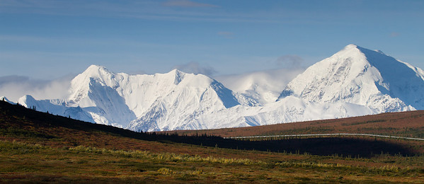 Alaska Range and pipeline in shadow of Donnlley Dome