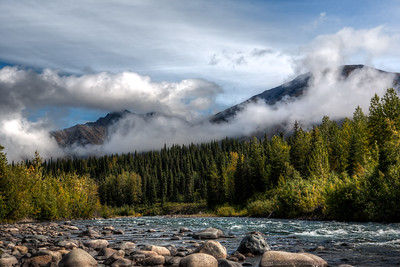 """Week #34, Project 52 – """" Middle Fork of the Chulitna River...""""  Saturday afternoon Kim and I headed back from settling our daughter into college life at UAA.  It was a nice drive that ironically started out sunny in Anchorage and gradually deteriorated as we got closer to Fairbanks.  I love it when the clouds and the sun vie for Mother Nature's attention.  The Parks Highway crosses a few forks of the Chulitna on it's way north. I believe this is the Middle Fork at about mile 194, but regardless of which fork it was, the sun was peaking out so I stopped for a photo op"""
