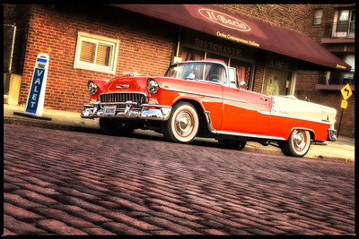 1956 Chevy BelAire Convertable in Front of Il Bacio