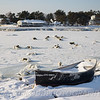 A frozen rowboat in Camp Ellis, Maine