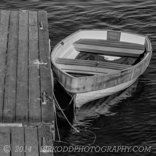 Dinghy at the Dock - Black & White