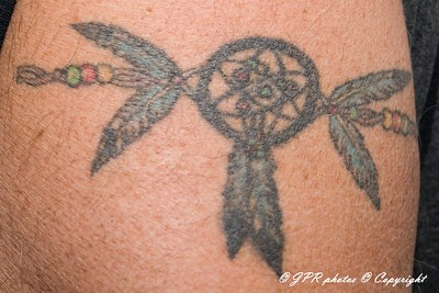 Elton in his 50's got this tattoo right shoulder to honor his American Indian Heritage.