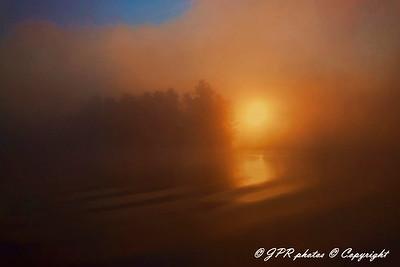 A foggy sun rise