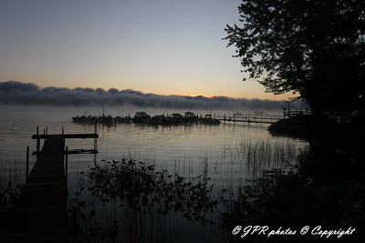 Early morning fog from dock area looking SE
