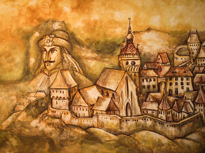 Dracula Mural in Restaurant, Sighisoara,