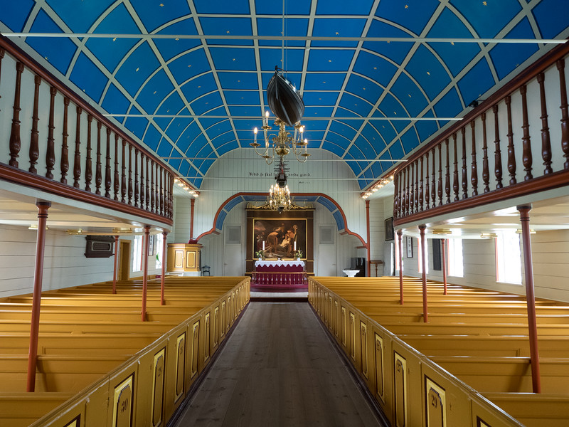 The cathedral in Tórshavn. Note the model boat on the ceiling; many Faroese churches feature these because of the importance of fishing and frequent tragedies at sea.