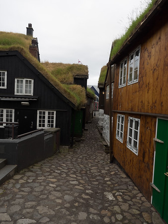 This is the old part of Tórshavn, where most of the houses have turf roofs. I could see this street from the apartment I was staying in; it felt like something out of The Hobbit.
