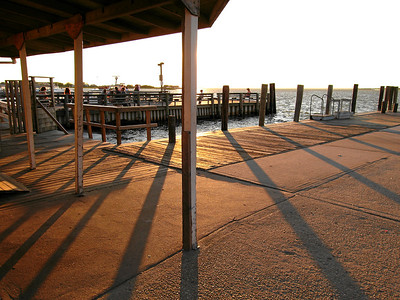 Late afternoon shadows on the dock, Fair Harbor, New York, 2007