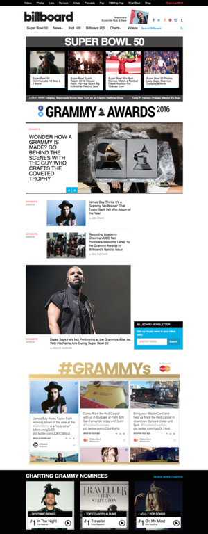 Billboard Grammy Awards Website