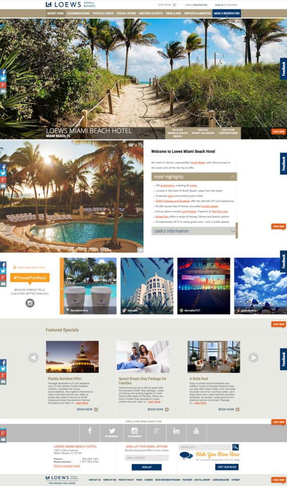 Loews Hotels screenshot text