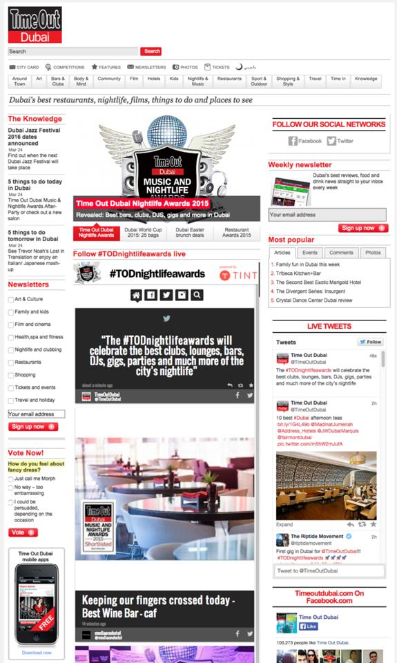 Time Out Dubai Website