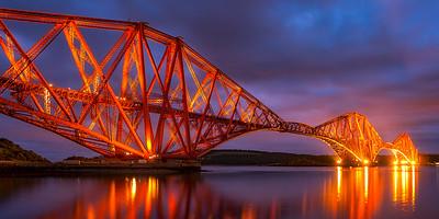 Scotland Forth Rail Bridge at Night by Scott Donschikowski