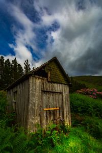 Scotland Old Shed with Bike Glen Etive vertical by Scott Donschikowski