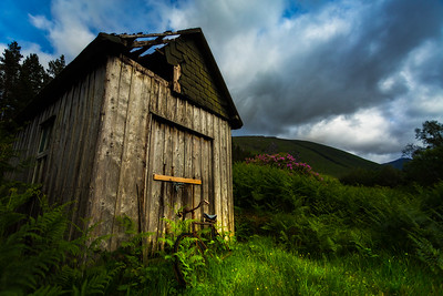 Scotland Old Shed with Bike Glen Etive by Scott Donschikowski