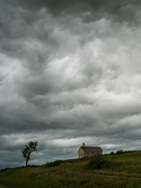 Schoolhouse and Shelf Cloud, Kansas