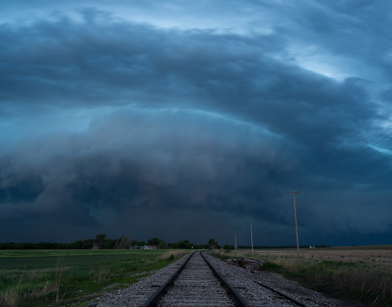 Railroad and Squall Line, Central Kansas