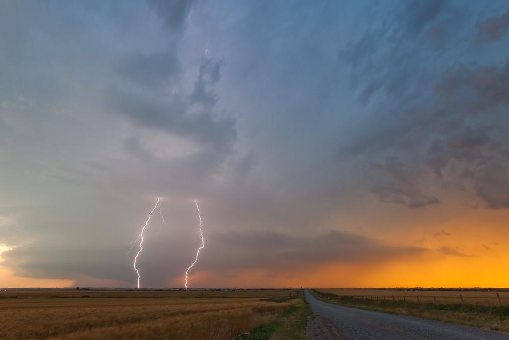 Lightning at Sunset, Western Oklahoma