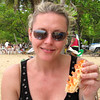 Nancy enjoying lobster at a beach on a warm, sunny day... that's heaven for her!! :-)