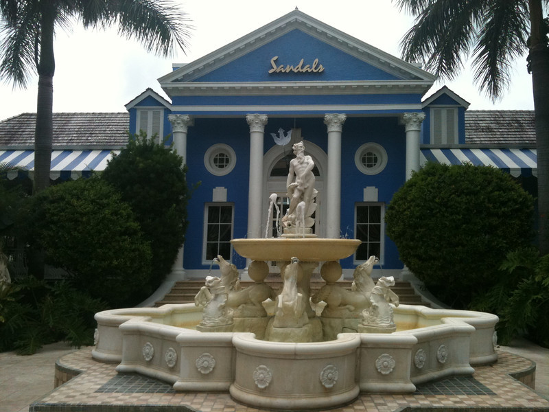 "There's a peek at the welcoming entrance to ""Sandals Royal Bahamian"" in Nassau."