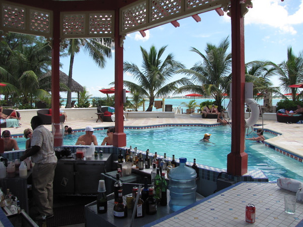 There's the pool & bar on the private island... not a bad set up! :-)