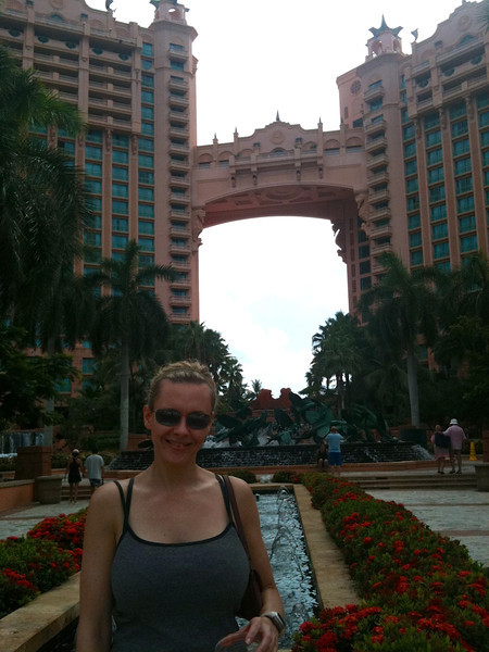 "After chilling out at the resort most of the week we figured we'd head to town & check out world famous ""Atlantis"" on Paradise Island... there's Nancy taking it all in. :-)"