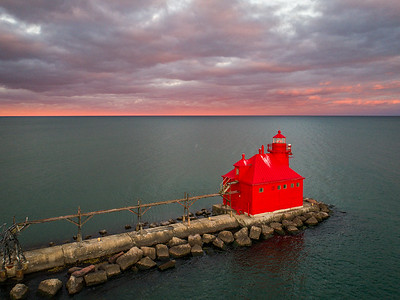Sturgeon Bay Canal North Pierhead lighthouse and Lake Michigan