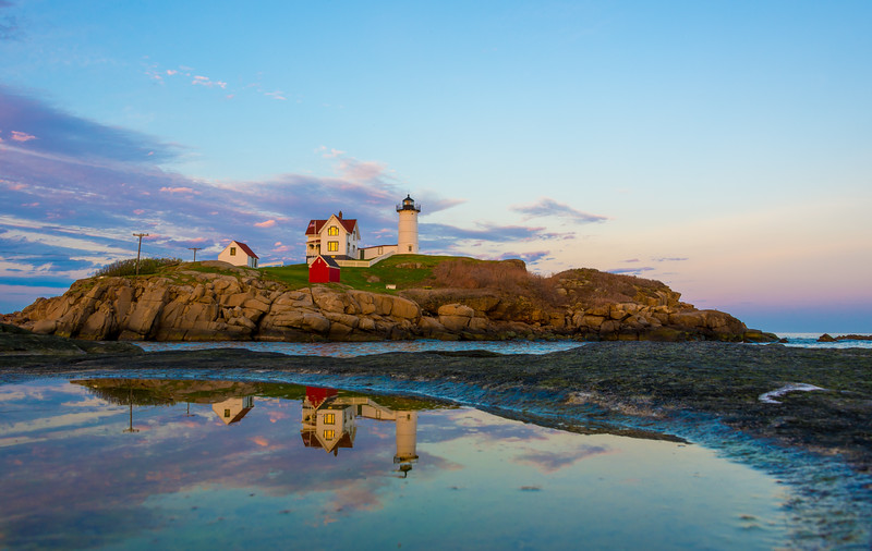 Nubble Light House and Reflection