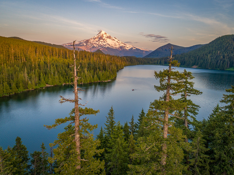 Lost Lake and Mt. Hood at Sunset Drone Shot