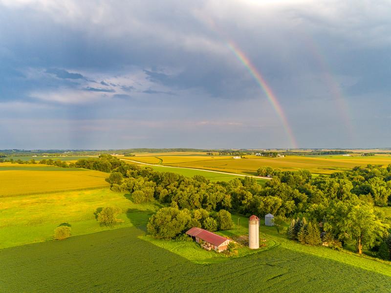 Double rainbow over farm country