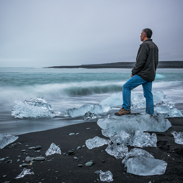 Standing On Diamond Beach, Iceland
